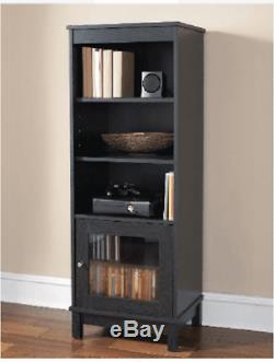 BOOKCASE BOOKSHELF MEDIA DVD STORAGE CABINET with Sliding Glass Doors