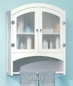Bathroom Kitchen Wall Cabinet White Shabby Cottage Chic Frosted Glass Doors 30H