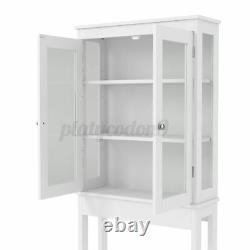 Bathroom Over The Toilet Storage with 2 Glass Door Cabinet Space Saver Organizer