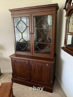 Beautiful Dark China Hutch Cabinet with Glass Doors & Wooden Shelves