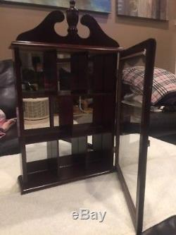 Beautiful Dark Small Curio Cabinet, Glass Door&Lots Of Room, mirrored Background