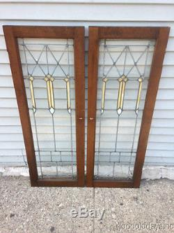 Beautiful Pair of Stained Leaded Glass Bookcase Cabinet Doors 44 1/2 x 16