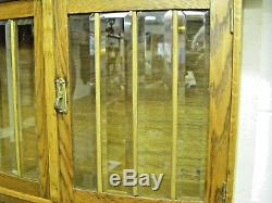 Beautiful Solid Oak Wall Curio Cabinet with Beveled Glass Doors