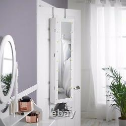 Beautify Wall & Door Mounted Mirrored Jewelry Cabinet Armoire with LED Lights