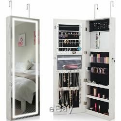 Bedroom Door &Wall Mount Jewelry Cabinet Mirror Touch Screen LED Lockable White