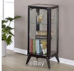 Black Curio Cabinet Display Case With Glass Doors for Collectibles Metal 3Shelf