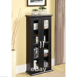 Black Finish Wooden Media Cabinet 4 Shelf CD DVD Storage Tower Glass Door Stand