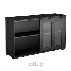 Black Wooden Storage Cabinet Stackable Utility China Curio Table Sliding Doors