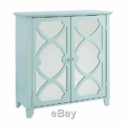 Blue Green Mirrored Geometric Contemporary Storage Console Cabinet Accent Chest