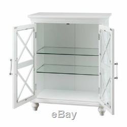 Blue Ridge Floor Cabinet with 2 Glass Doors in White for Bathroom Storage