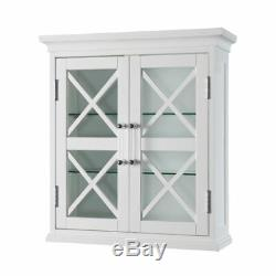 Blue Ridge Wall Cabinet with 2 Glass Doors in White for Bathroom Storage