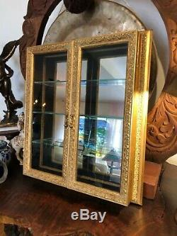 Bombay Co Mirrored Glass Doors Curio Wall Mount Shelf Display Medicine Cabinet