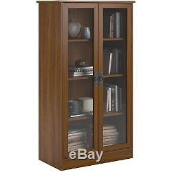 Bookcase With Doors And Shelves Glass Bookshelf Tall Vertical Wooden Wall Home