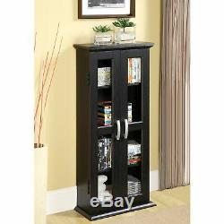 Bookcase With Glass Doors Wood Bookshelf Furniture Living Room Storage Cabinet