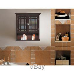 Brown Surface Wall Mount Glass Door Cabinet Home Bathroom Storage Furniture