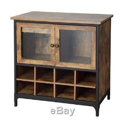 Buffet Cabinet Dry Bar And Wine Rustic Kitchen Cabinets Bottle Glass Door Rack