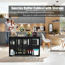 Buffet Cabinet Kitchen Storage Stand Cupboard With Glass Door Side Table-Black