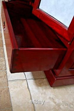 Buffet Cabinet Solid Rosewood Beveled Glass Doors 6 Shelves Rolling