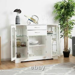 Buffet Storage Cabinet Console Cupboard WithGlass Door Drawers Kitchen Dining Room