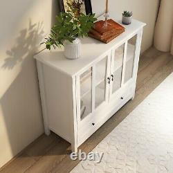 Buffet Storage Cabinet With Double Glass Doors And Unique Bell Handle