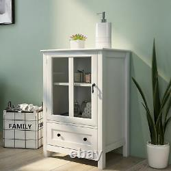 Buffet Storage Cabinet With Single Glass Doors and Unique Bell Handle, kitchen US