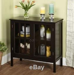 Buffet Table Cabinet Dining Room Storage Black Small Sideboard Glass Doors China