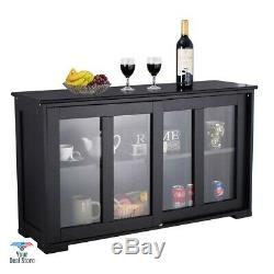Buffet Table Kitchen Island Console Sideboard Wooden Cabinet With Glass Doors
