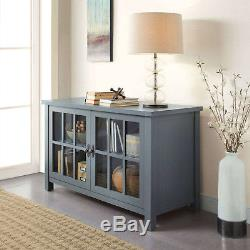 Buffet Table Rustic Tv Stand Console Cabinet Blue Entertainment Center Doors New