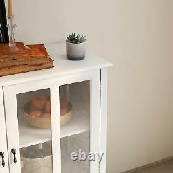 Buffet storage cabinet with double glass doors and unique bell handle Kitchen