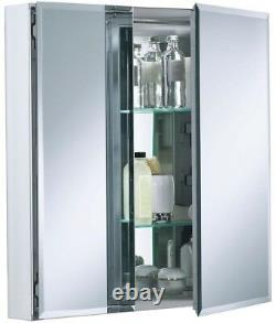 Cabinet 25 in. W x 26 in. H x 5 in. D Aluminum Finish with Square Mirrored Door