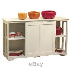 Cabinet Kitchen Stackable Storage Wood Buffet Sliding Panel Doors Antique White