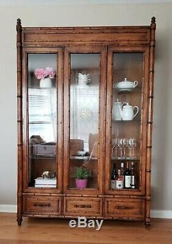 Century Faux Bamboo China Closet Cabinet Gallery Top Glass Doors Shelves Vtg