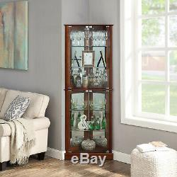 Cherry/ Walnut Woody Lighted Corner Curio Cabinet Tempered Glass Door 6 Shelves