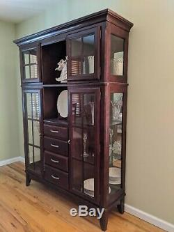 Cherry Wood Curio cabinet with glass doors and lighting Excellent condition