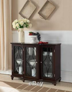 Cherry Wood Sideboard Buffet Console Table With Glass Cabinet Doors & Storage