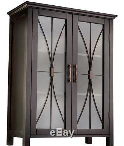 China Cabinet Glass Doors Dining Room Small Buffet Low Media Storage Espresso