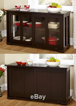 China Cabinet With Glass Doors Dining Room Furniture Hutch Buffet 2 Piece Stack