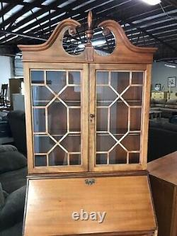 Chippendale Style Mahogany Secretary Desk Glass Door Claw Foot. No Shipping