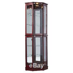 Corner China Cabinet With Glass Doors Curio Display Case Adjustable Shelves Wood