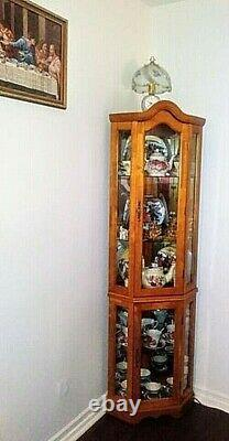 Corner Curio Cabinet, Lighted & Mirrored, Wood withGlass Doors Display, Arched Top