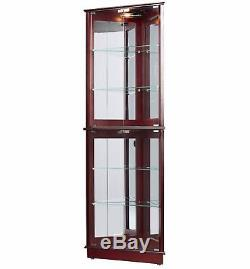 Corner Curio Cabinet With Glass Doors And Lights Adjustable Shelves Cherry New