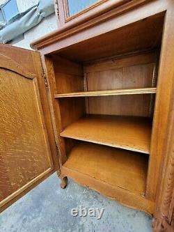 Country French Oak Buffet China Cabinet Display Hutch Restored LA Area