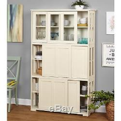 Country White Kitchen Sliding Gl Door Stackable Wood Storage Cabinet Cupboard