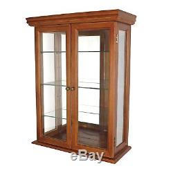 Curio Cabinet Display Case Gl Doors Hanging Wall Mounted