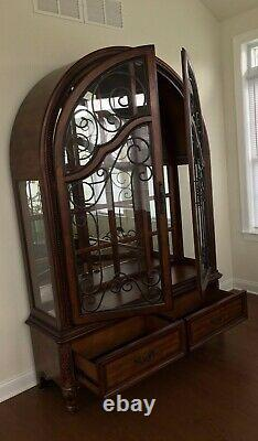Curio Cabinet, Glass Doors with Intricate Iron Detail, Pick-up Only
