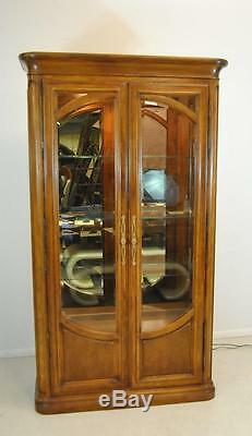 Curio Display Birch Cabinet with Beveled Glass Doors by Henredon