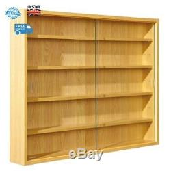 Display Cabinet Wall Mount Doors Shelves Glass Unit Collectibles Models Brand Ne