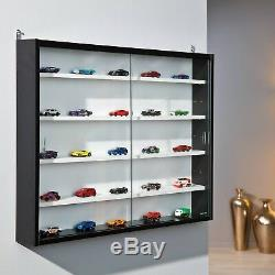 Display Cabinet Wall Mounted Glass Door Laminated Black White Toy Collections UK