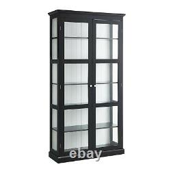 Display Cabinet with Doors and Shelves, Black 76H