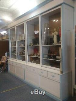 Display cabinet antique wood glass doors 1906 oak wall